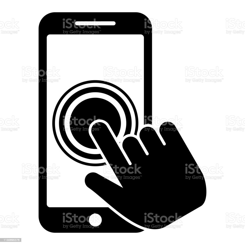 Click on touch screen smartphone Modern smartsphone with hand clicking on screen Finger click on mobile phone Action in apps cellphone Using telephone icon black color vector illustration flat style image