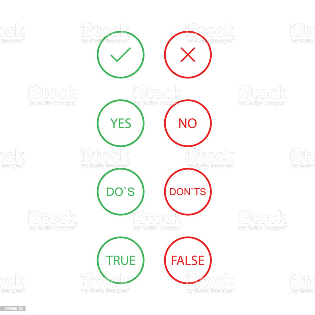 Click red of green. Yes or no. Vector icon vector art illustration