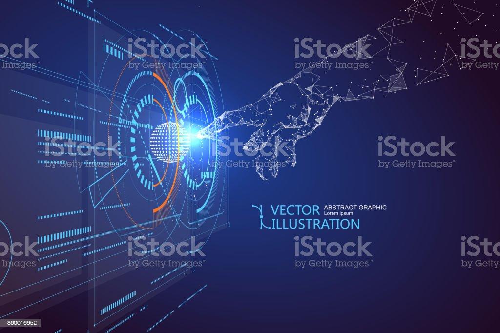 Click the virtual screen, science fiction scene. vector art illustration