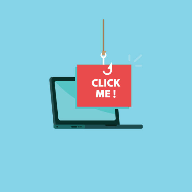 Clickbait. Laptop with fishing hook on click me message vector art illustration
