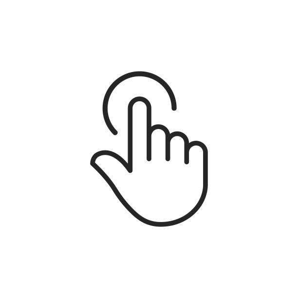 ilustraciones, imágenes clip art, dibujos animados e iconos de stock de clicker, icono de la línea de mano del puntero. trazo editable. pixel perfect. para móvil y web. - física