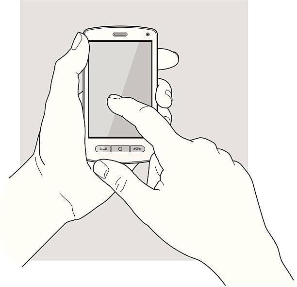 нажав на сенсорном экране - hand holding phone stock illustrations