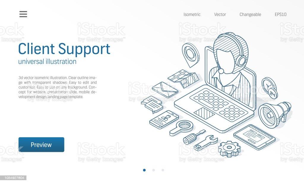 Kunde Kundendienst Kontaktieren Sie Uns Isometrische Linie Abbildung