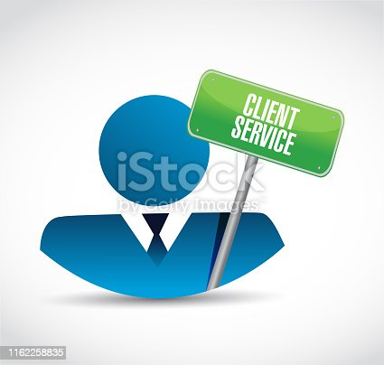 Client service icon and sign illustration design over a white background