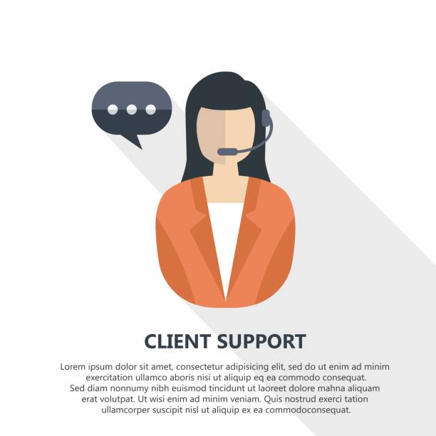 Client support vector illustration avec texte. - Illustration vectorielle