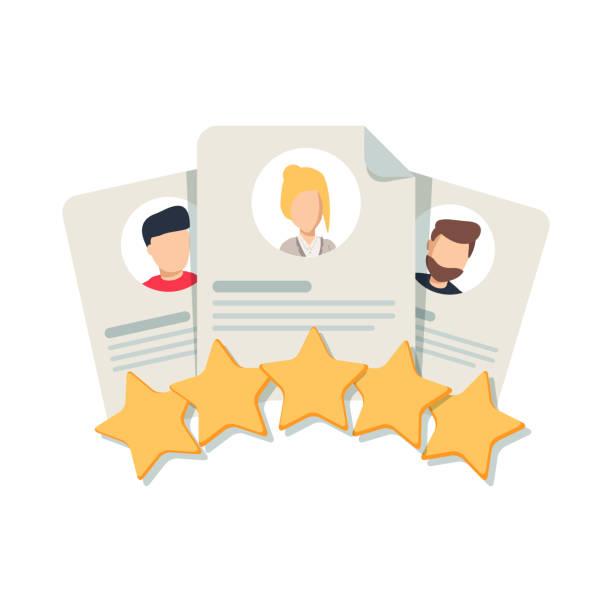 illustrations, cliparts, dessins animés et icônes de du client examen, commentaires de clients, de l'utilisateur commentaire ou niveau de satisfaction. portraits de trois personnes - relation client