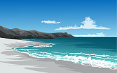 beach illustration with cliff and waves