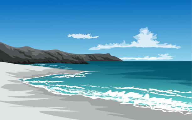 cliff beach beach illustration with cliff and waves bay of water stock illustrations