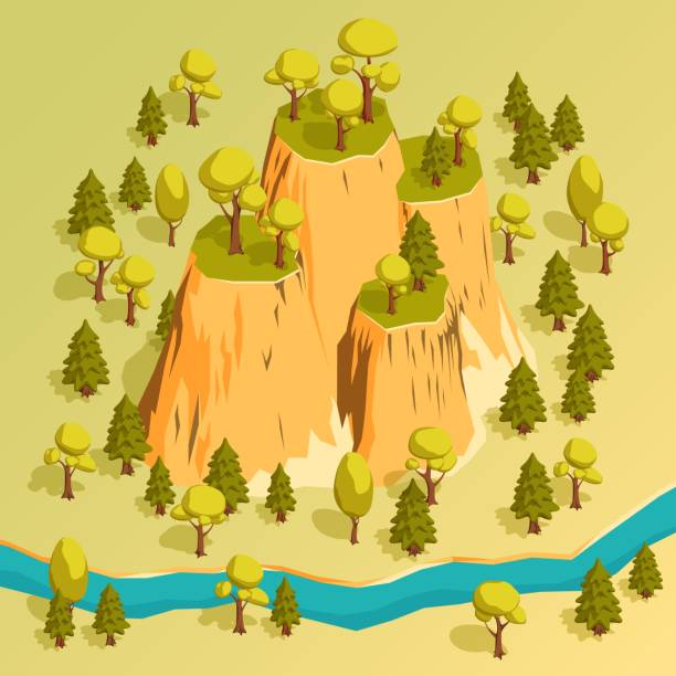 Bекторная иллюстрация A cliff with ledges in a forest surrounded by trees. Isometric