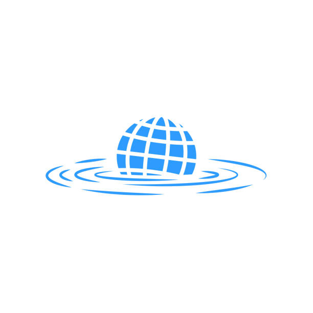 Climate change illustration sinking abstract planet earth concept poster global warming global flood eco logo Climate change illustration sinking abstract planet earth concept poster global warming global flood eco logo rippled stock illustrations