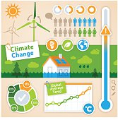 Climate change and renewable energy inforgraphic concept. EPS 10 file. Transparency effects used on highlight elements.