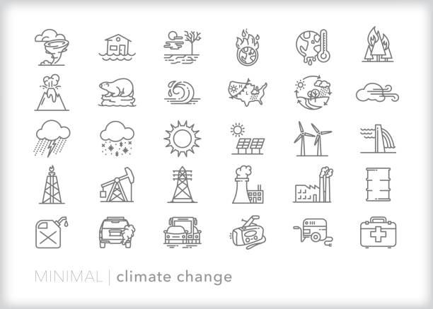bildbanksillustrationer, clip art samt tecknat material och ikoner med ikonuppsättning för klimatförändringslinje - climate change
