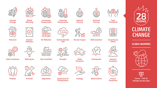 Climate change or global warming editable stroke outline danger red icon set with world disaster and catastrophe, globe nuclear and air co2 pollution, greenhouse effect, melting ice line ecology sign.