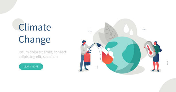 climate change People Characters trying to Save Planet Earth.Woman holding Thermometer showing Hot Temperature. Man put out Big Fire. Global Warming and Climate Change Concept. Flat Isometric Vector Illustration. climate change stock illustrations