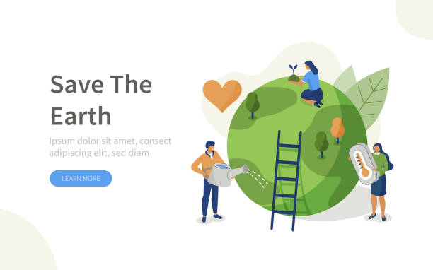 climate change People Characters trying to Save Planet Earth.Woman and Man Planting and Watering Trees, Measuring Planet Temperature. Global Warming and Climate Change Concept. Flat Isometric Vector Illustration. environment stock illustrations