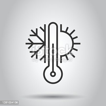 istock Climate control icon in flat style. Snowflake with sun vector illustration on white isolated background. Weather thermometer business concept. 1281004136
