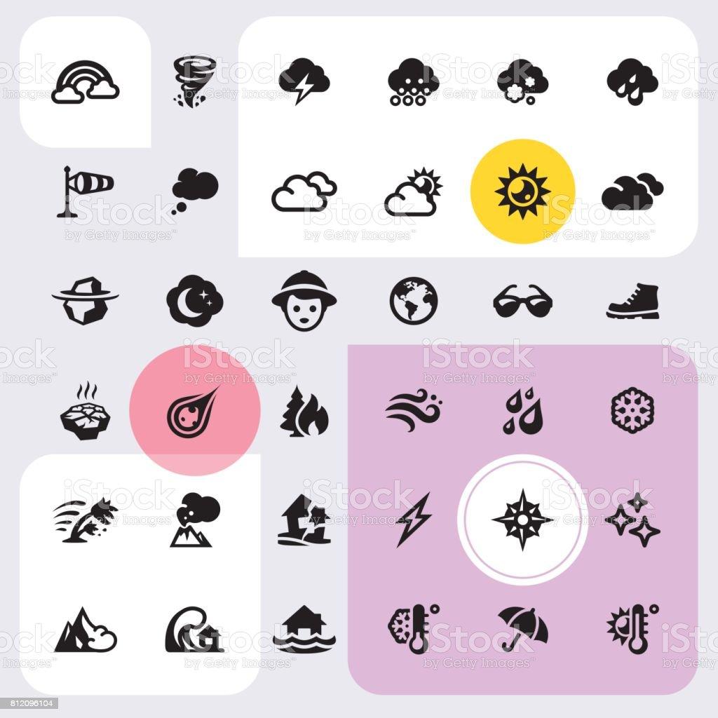 Conjunto de ícones de clima - ilustração de arte em vetor