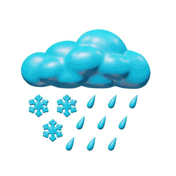 Climate isolated design of 3d sleet cloud figure Weather vector illustration of graphic design for season, plastic cloud wit sleet - rain and snow. Glossy isolated sculpture of slush cloudy storm. Creative object or sign of blue cloud in atmosphere. hail stock illustrations