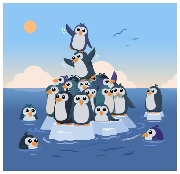 stockillustraties, clipart, cartoons en iconen met klimaat pinguïns - pinguins swimming