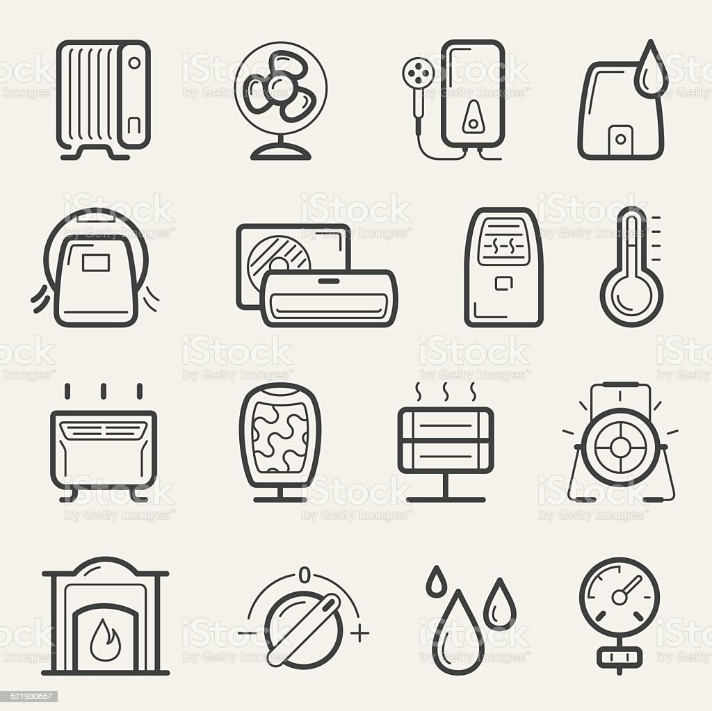 Climatic equipment icons vector art illustration