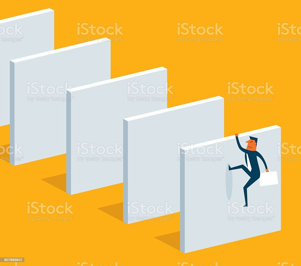 Climb over high wall vector art illustration