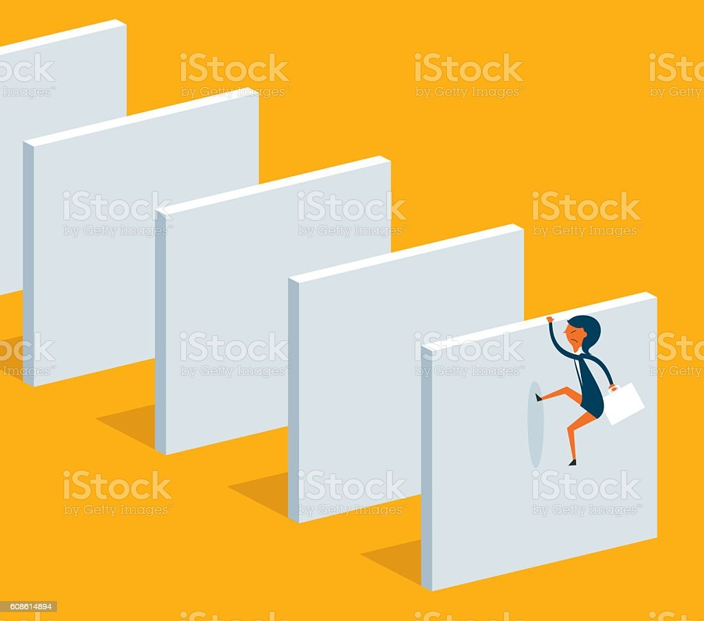 Climb over high wall vector art illustration