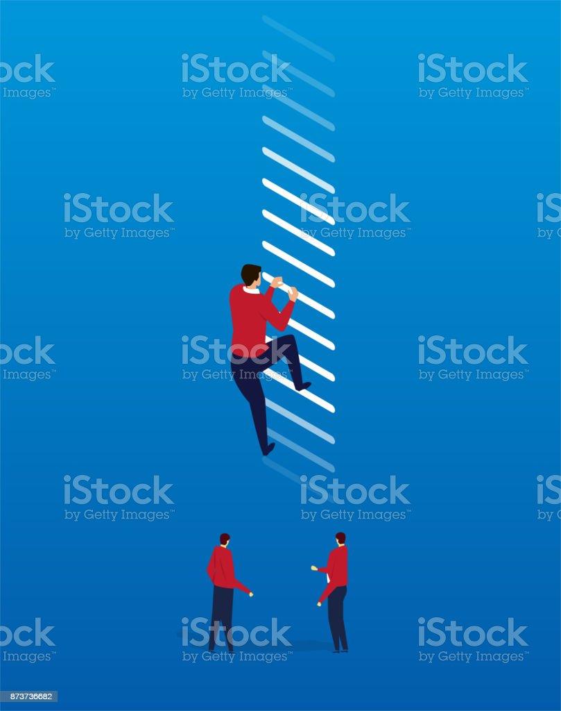 Climb the highest point vector art illustration