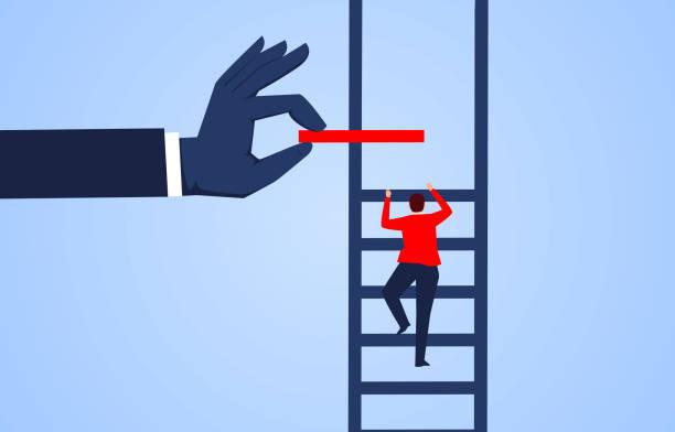 stockillustraties, clipart, cartoons en iconen met klim omhoog, hand help zakenman bouwen ladder - professioneel beroep
