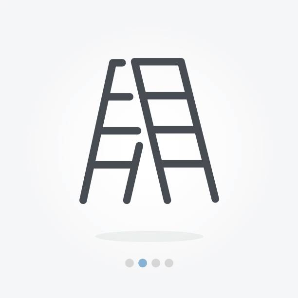 stockillustraties, clipart, cartoons en iconen met beklimmen van vector pictogram - ladder