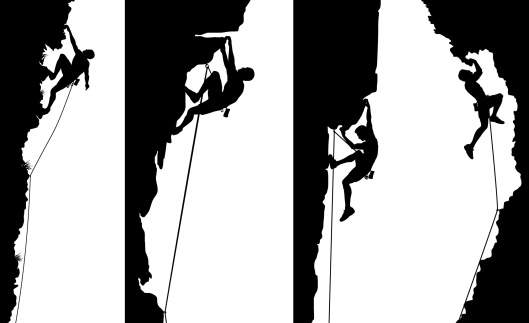 Set of editable vector side panel silhouettes of climbers with all elements as separate objects. Hi-res jpeg file included.