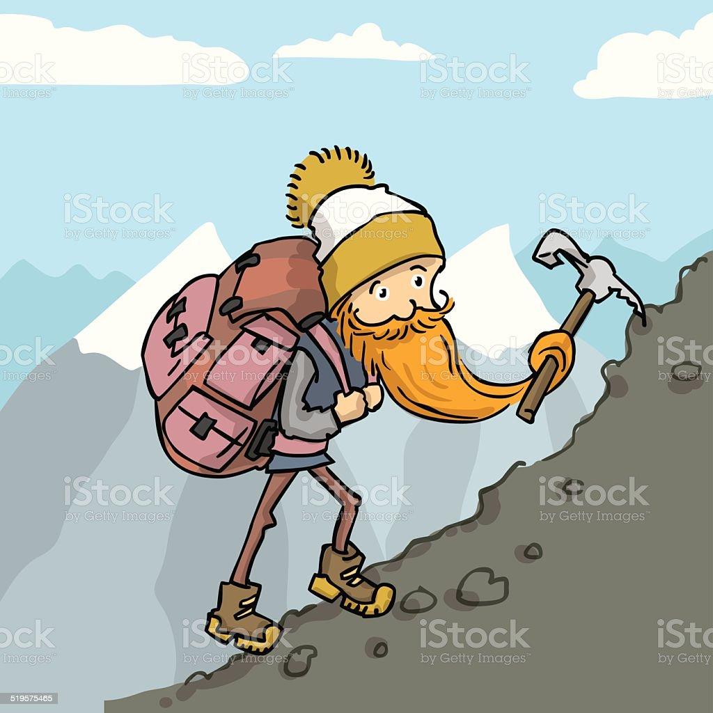 51c52673382 Escalador con gran mochila escalada en la montaña. vector ilustración de  dibujos animados. ilustración