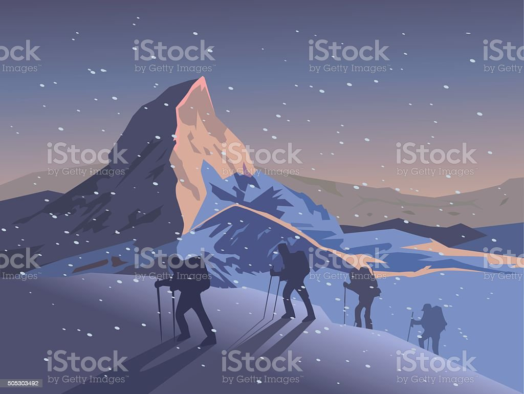 Climbers climb the mountain. Vector illustration vector art illustration