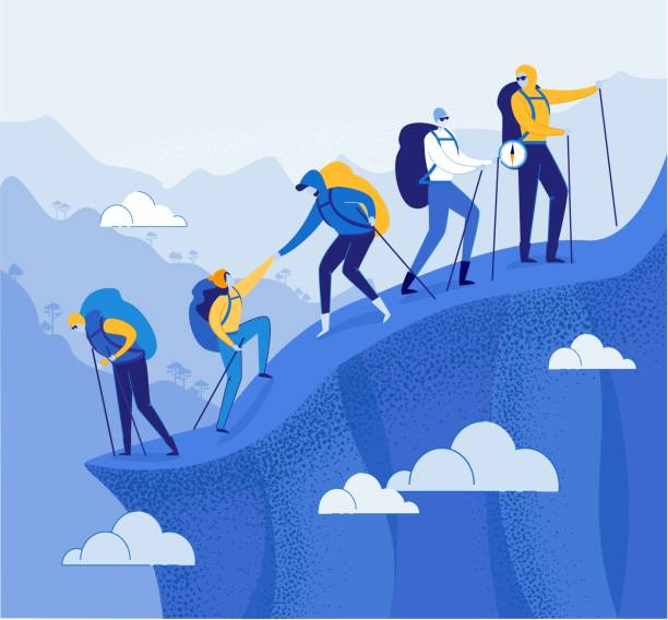 Climbers Group Helping each other in Mountains. Climbers Group Helping each other Flat Cartoon Vector Illustration. Teamwork Concept. People with Racksacks or Backpacks Hiking in Mountains. Leader on Top with Compass. Traveling and Trekking. hiking stock illustrations