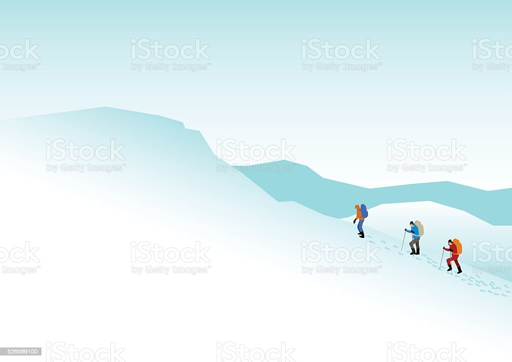 Climbers On The Snowy Mountains vector art illustration