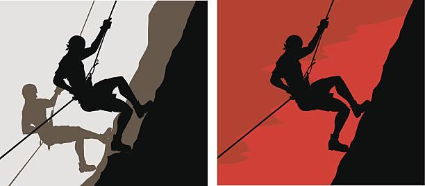 climbers - rock climbing stock illustrations, clip art, cartoons, & icons
