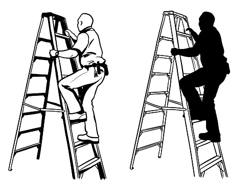 Climbing A Ladder Security Staff Silhouette