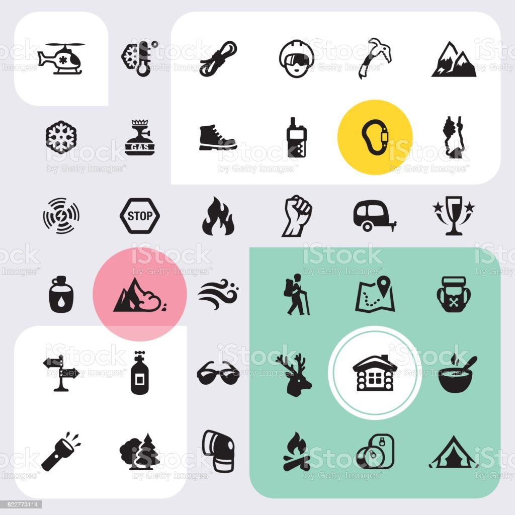 Climbing and Mountain icons set vector art illustration