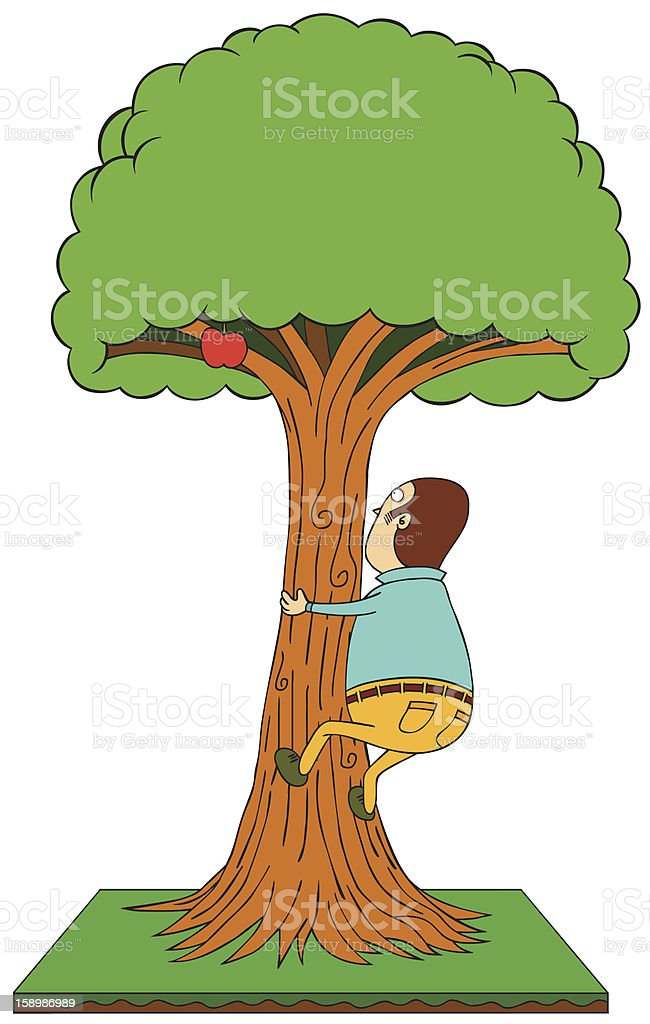 climbing apple tree royalty-free stock vector art