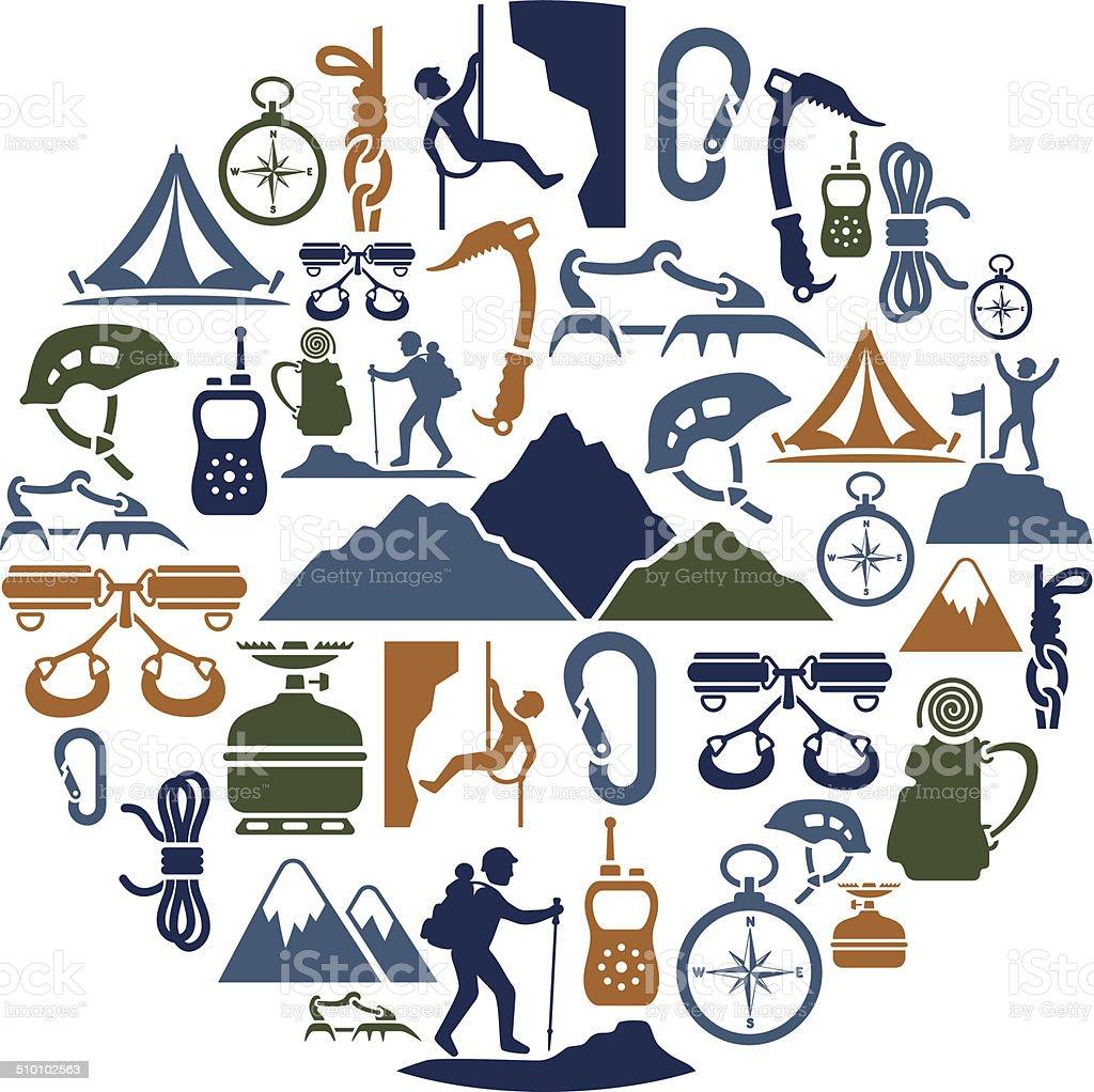 Collage de escalada - ilustración de arte vectorial