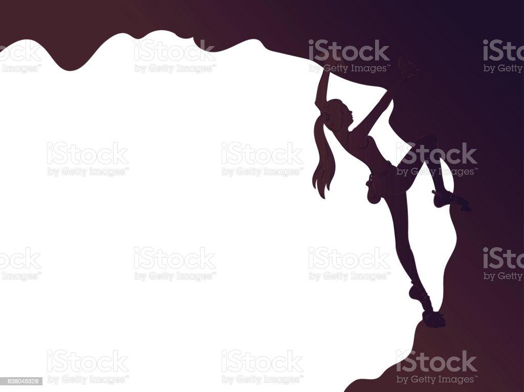 登山の女の子シルエット ベクターアートイラスト