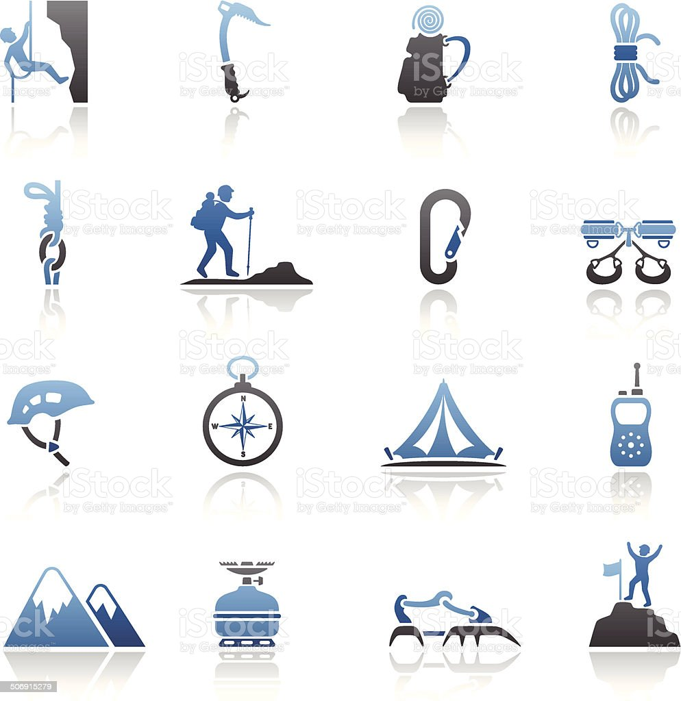 Climbing Icon Set royalty-free stock vector art