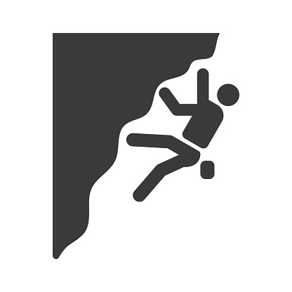 Climbing icon, vector on the white background.
