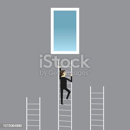 Staircase, Steps, Businessman, Climbing, Door