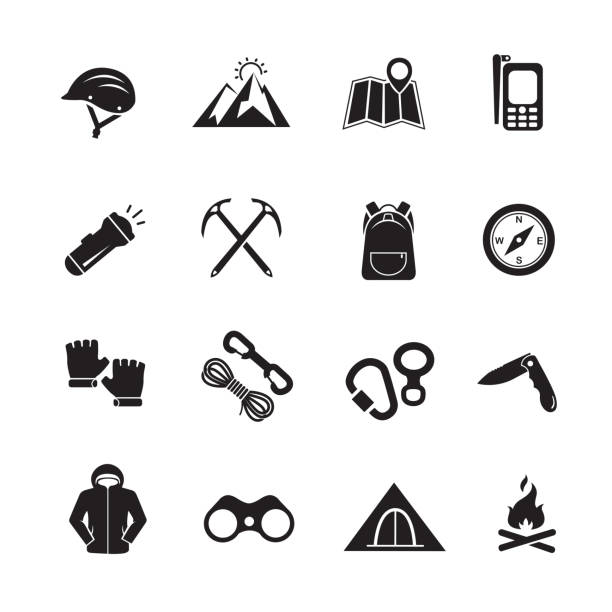 Climbing mountain icon Climbing mountain icon, Set of 16 editable filled, Simple clearly defined shapes in one color, Vector mountain climbing stock illustrations
