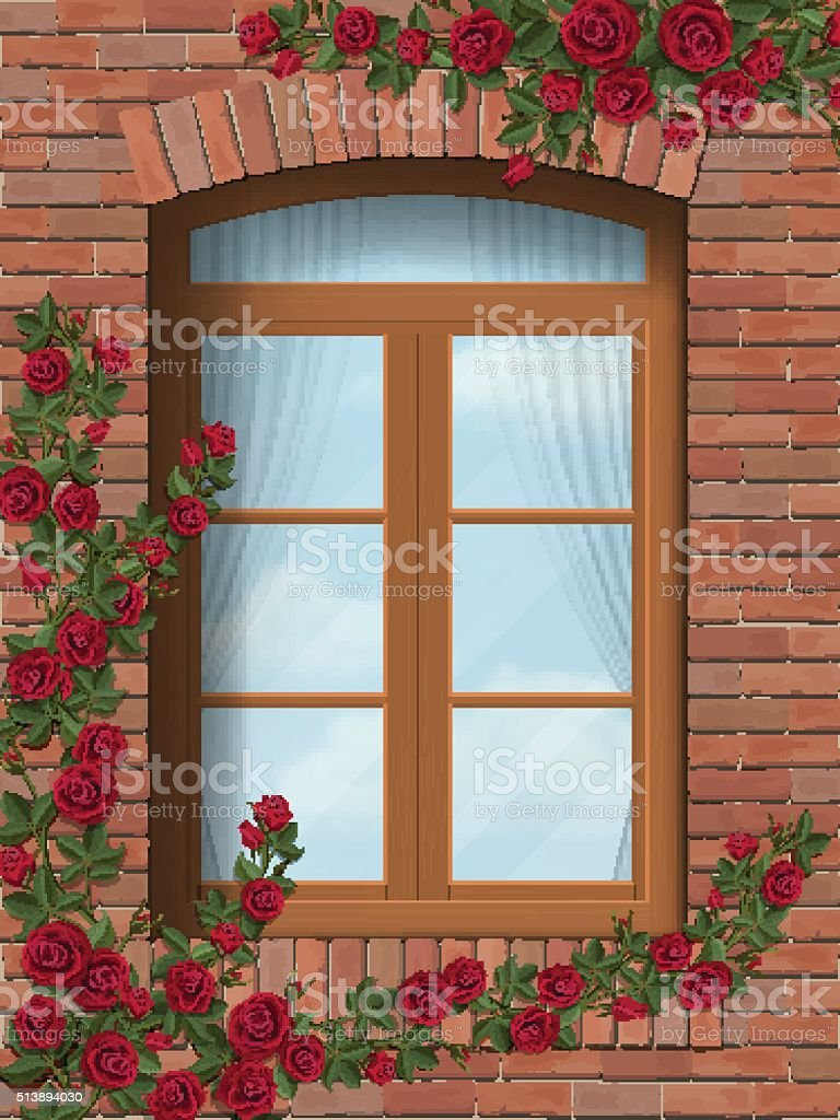 climbing rose arched window in brick wall vector art illustration