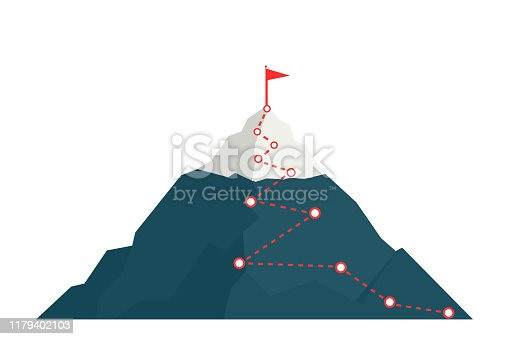 Climbing route to peak mountain. Сoncept of success. Business vector illustration.