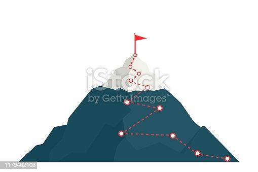 istock Climbing route to peak mountain. 1179402103