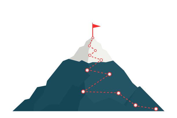 wspinaczka na szczyt góry. - aspiracje stock illustrations