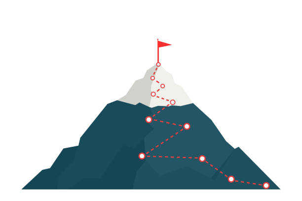 Climbing route to peak mountain. Climbing route to peak mountain. Сoncept of success. Business vector illustration. mountain top stock illustrations