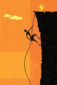 A businesswoman climbing a rope up the side of a cliff about to reach the top. The woman, rope, and cliff are on separate layer from the background.